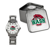 Ladies Stainless Steel Fashion Watch-Wash U w/Bear