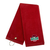 Red Golf Towel-Wash U w/Bear