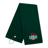 Dark Green Golf Towel-Wash U w/Bear