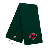 Dark Green Golf Towel-Bear Head