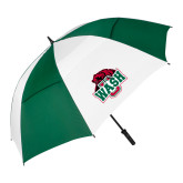 62 Inch Forest Green/White Umbrella-Wash U w/Bear