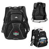 High Sierra Swerve Black Compu Backpack-Wash U w/Bear