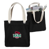 Allie Black Canvas Tote-Wash U w/Bear