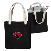 Allie Black Canvas Tote-Bear Head