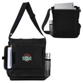 Impact Vertical Black Computer Messenger Bag-Wash U w/Bear