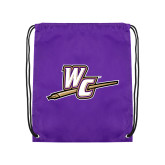 Purple Drawstring Backpack-WC with Pen