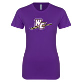 Next Level Ladies SoftStyle Junior Fitted Purple Tee-WC with Pen