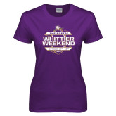 Ladies Purple T Shirt-Whittier Weekend