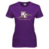 Ladies Purple T Shirt-Lacrosse