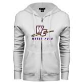 ENZA Ladies White Fleece Full Zip Hoodie-Water Polo