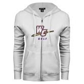 ENZA Ladies White Fleece Full Zip Hoodie-Golf
