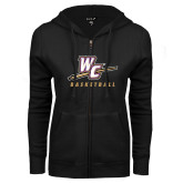 ENZA Ladies Black Fleece Full Zip Hoodie-Basketball