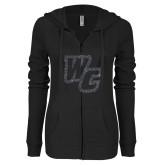 ENZA Ladies Black Light Weight Fleece Full Zip Hoodie-Primary Mark Graphite Soft Glitter