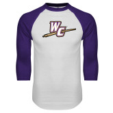 White/Purple Raglan Baseball T Shirt-WC with Pen