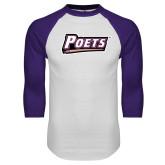 White/Purple Raglan Baseball T Shirt-Poets