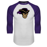 White/Purple Raglan Baseball T Shirt-Poet Head