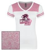 Ladies White/Bright Pink Juniors Varsity V Neck Tee-Primary Mark Foil