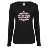 Ladies Black Long Sleeve V Neck Tee-Whittier Weekend