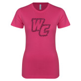 Ladies SoftStyle Junior Fitted Fuchsia Tee-Primary Mark Hot Pink Glitter