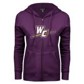 ENZA Ladies Purple Fleece Full Zip Hoodie-WC with Pen