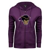 ENZA Ladies Purple Fleece Full Zip Hoodie-Poet Head