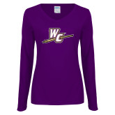 Ladies Purple Long Sleeve V Neck Tee-WC with Pen