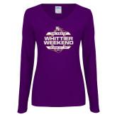 Ladies Purple Long Sleeve V Neck Tee-Whittier Weekend