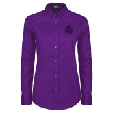 Ladies Purple Twill Button Down Long Sleeve-Primary Mark