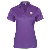 Ladies Purple Performance Fine Jacquard Polo-WC with Pen