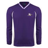 Colorblock V Neck Purple/White Raglan Windshirt-WC with Pen