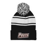 Black/White Two Tone Knit Pom Beanie w/Cuff-Poets
