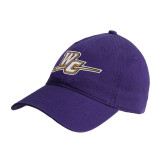 Purple Twill Unstructured Low Profile Hat-WC with Pen