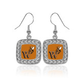 Crystal Studded Square Pendant Silver Dangle Earrings-Mascot W Logo