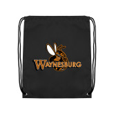 Black Drawstring Backpack-Waynesburg Primary Logo