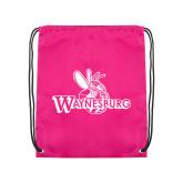 Pink Drawstring Backpack-Waynesburg Primary Logo