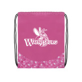 Nylon Pink Bubble Patterned Drawstring Backpack-Waynesburg Primary Logo