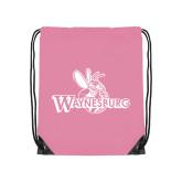 Light Pink Drawstring Backpack-Waynesburg Primary Logo