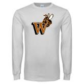White Long Sleeve T Shirt-Mascot W Logo