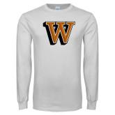 White Long Sleeve T Shirt-W Lettermark