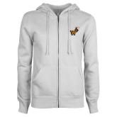 ENZA Ladies White Fleece Full Zip Hoodie-Mascot W Logo