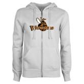 ENZA Ladies White Fleece Full Zip Hoodie-Waynesburg Primary Logo