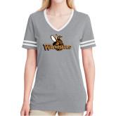 Ladies Grey Heather/White Tri Blend Varsity Tee-Waynesburg Primary Logo