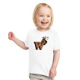 Toddler White T Shirt-Mascot W Logo