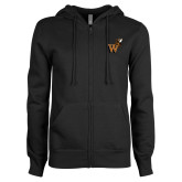 ENZA Ladies Black Fleece Full Zip Hoodie-Mascot W Logo