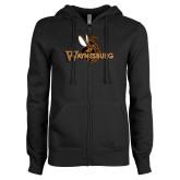 ENZA Ladies Black Fleece Full Zip Hoodie-Waynesburg Primary Logo