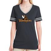 Ladies Black Heather/Grey Tri Blend Varsity Tee-Waynesburg Primary Logo