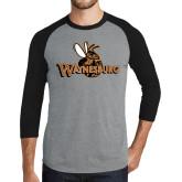 Grey/Black Tri Blend Baseball Raglan-Waynesburg Primary Logo