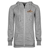 ENZA Ladies Grey/Black Marled Full Zip Hoodie-Waynesburg Primary Logo