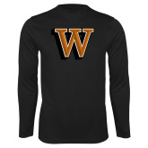 Performance Black Longsleeve Shirt-W Lettermark