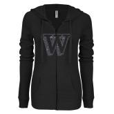 ENZA Ladies Black Light Weight Fleece Full Zip Hoodie-W Graphite Soft Glitter
